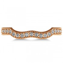 Diamond Accented Contoured Wedding Band in 14k Rose Gold (0.29ct)