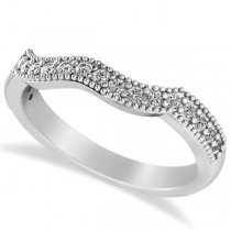 Diamond Accented Contoured Wedding Band in 14k White Gold (0.29ct)