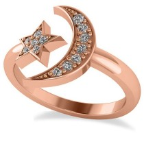 Crescent Moon and Star Diamond Ring 14k Rose Gold (0.17ct)