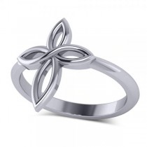 Irish Celtic Knot Cross Fashion Ring Plain Metal 14k White Gold