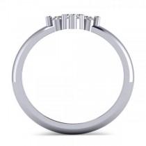 Small Religious Cross Round-Cut Diamond Ring 14k White Gold (0.30ct)