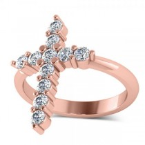 Large Religious Cross Round-Cut Diamond Ring 14k Rose Gold (0.55ct)