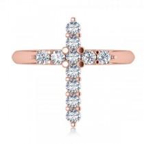 Large Religious Cross Round-Cut Diamond Ring 14k Rose Gold (0.55ct)