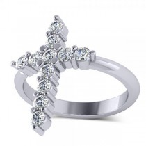 Large Religious Cross Round-Cut Diamond Ring 14k White Gold (0.55ct)