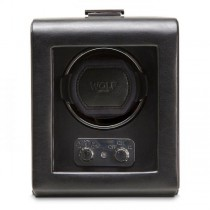 Men's Single Watch Winder Faux Leather w/ Glass Cover Home or Travel