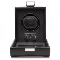 WOLF Heritage Men's Single Watch Winder Faux Leather w/ Glass Cover Home or Travel