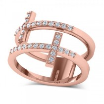 Double Sideways Religious Cross Diamond Ring 14k Rose Gold (0.32ct)