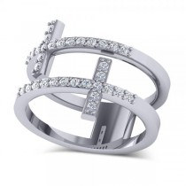 Double Sideways Religious Cross Diamond Ring 14k White Gold (0.32ct)