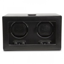 WOLF Heritage Men's Double Watch Winder Faux Leather Glass Cover Preset Programs
