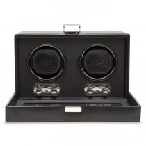 Men's Double Watch Winder Faux Leather Glass Cover Preset Programs