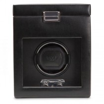 Men's Single Watch Winder Storage Box Black Faux Leather Glass Cover