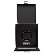 WOLF Heritage Men's Single Watch Winder Storage Box Black Faux Leather Glass Cover