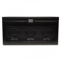 Men's Triple Watch Winder w/ Storage Glass Cover Removable Travel Case