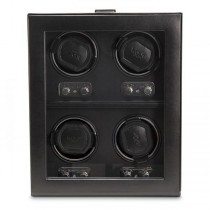 Men's 4 Watch Winder Faux Leather Glass Cover Preset Winding Programs