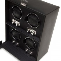 WOLF Heritage Men's 4 Watch Winder Faux Leather Glass Cover Preset Winding Programs