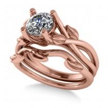 Diamond Vine Leaf Engagement Ring Bridal Set 14k Rose Gold (1.00ct)