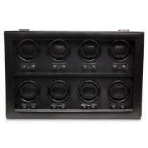 Men's 8 Watch Winder Faux Leather Glass Cover Preset Winding Programs