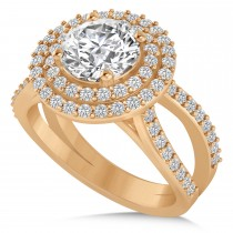 Double Halo Diamond Engagement Ring 14k Rose Gold (2.27ct)