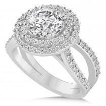 Double Halo Diamond Engagement Ring 14k White Gold (2.27ct)