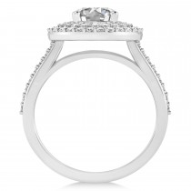Double Halo Diamond Engagement Ring 14k White Gold (2.27ct)