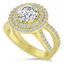 Double Halo Diamond Engagement Ring 14k Yellow Gold (2.27ct)