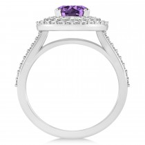 Double Halo Amethyst Engagement Ring 14k White Gold (2.27ct)