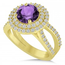 Double Halo Amethyst Engagement Ring 14k Yellow Gold (2.27ct)