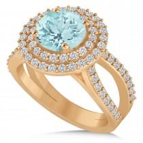 Double Halo Aquamarine Engagement Ring 14k Rose Gold (2.27ct)