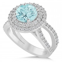 Double Halo Aquamarine Engagement Ring 14k White Gold (2.27ct)
