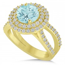 Double Halo Aquamarine Engagement Ring 14k Yellow Gold (2.27ct)