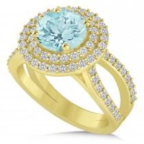 Double Halo Aquamarine Engagement Ring 14k Yellow Gold (2.27ct)