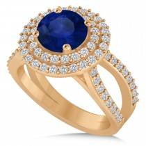 Double Halo Blue Sapphire Engagement Ring 14k Rose Gold (2.27ct)