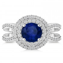 Double Halo Blue Sapphire Engagement Ring 14k White Gold (2.27ct)
