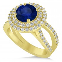 Double Halo Blue Sapphire Engagement Ring 14k Yellow Gold (2.27ct)