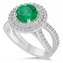 Double Halo Emerald Engagement Ring 14k White Gold (2.27ct)