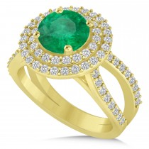Double Halo Emerald Engagement Ring 14k Yellow Gold (2.27ct)