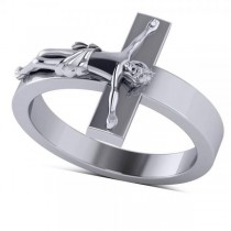 Religious Crucifix Fashion Ring in Plain Metal 14k White Gold