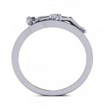 Religious Crucifix Fashion Ring in Plain Metal 14k White Gold