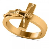 Religious Crucifix Fashion Ring in Plain Metal 14k Two Tone Gold
