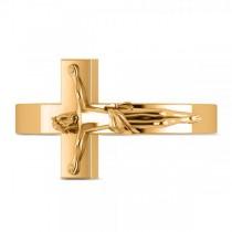 Religious Crucifix Fashion Ring in Plain Metal 14k Yellow Gold|escape