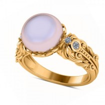 Diamond & Freshwater Pearl Fashion Ring in 14k Yellow Gold (10mm) (0.10ct)