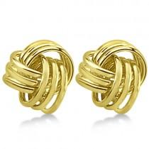 Love Knot Stud Earrings 14K Yellow Gold (10.5mm)