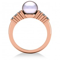 Pearl & Diamond Accented Engagement Ring 14k Rose Gold 8mm (0.30ct)