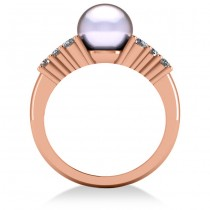 Pearl & Diamond Accented Engagement Ring 14k Rose Gold 8mm (0.40ct)|escape