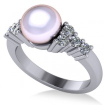 Pearl & Diamond Sidestone Accented Engagement Ring 14k White Gold 8mm (0.40ct)