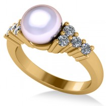 Pearl & Diamond Accented Engagement Ring 14k Yellow Gold 8mm (0.40ct)