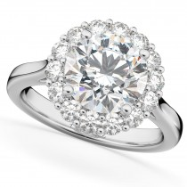 Round Halo Diamond Engagement Ring 14K White Gold (3.20ct)