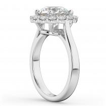 Round Halo Diamond Engagement Ring 14K White Gold (3.20ct)