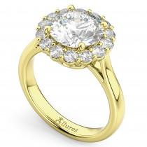 Round Halo Diamond Engagement Ring 14K Yellow Gold (3.20ct)