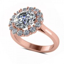 Diamond Accented Halo Engagement Ring in 18k Rose Gold (3.20ct)